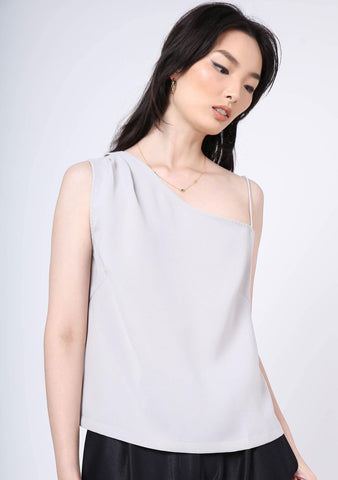 AOI ASYMMETRIC NECKLINE TOP - Warm Grey - SALIENT LABEL