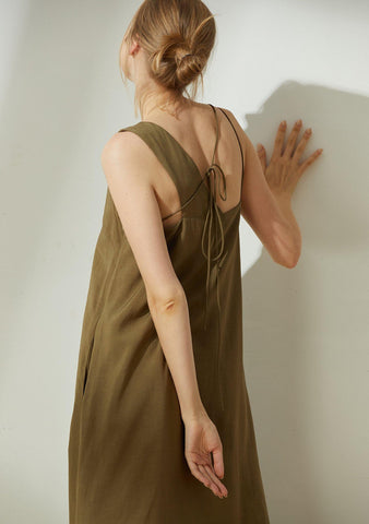 Asteria Tie-back Midi Dress in Moss - SALIENT LABEL