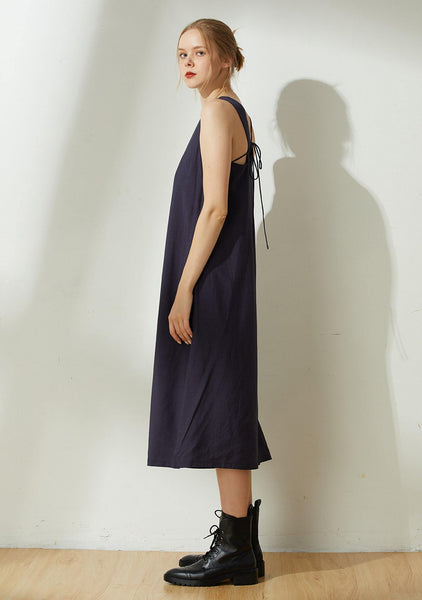 Asteria Tie-back Midi Dress in Midnight Navy - SALIENT LABEL