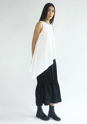 ASYMMETRIC SLEEVELESS TEXTURED TOP - CREAM