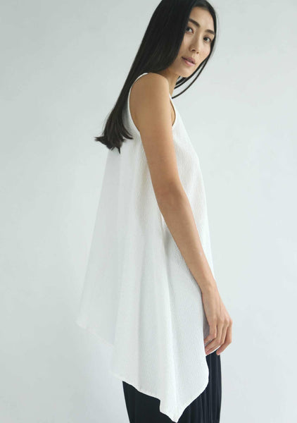 ASYMMETRIC SLEEVELESS TEXTURED TOP - CREAM - SALIENT LABEL