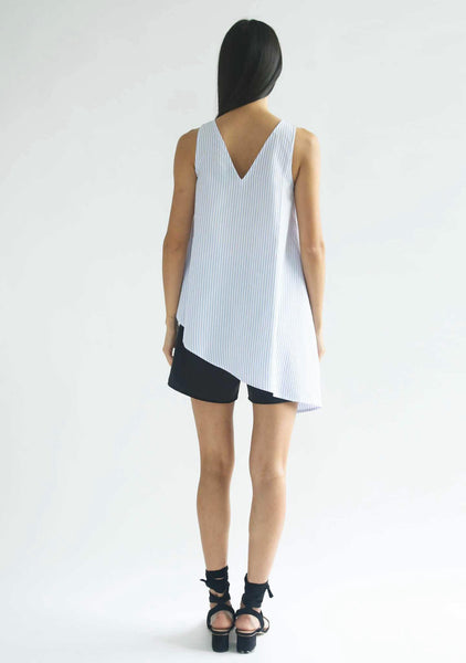 ASYMMETRIC SLEEVELESS TOP - STRIPE - SALIENT LABEL