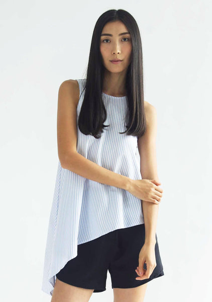ASYMMETRIC SLEEVELESS TOP - STRIPE