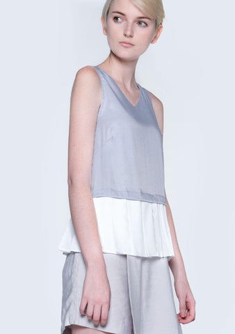 AXEL DUAL COLOUR PLEATED TOP - XENON BLUE - SALIENT LABEL