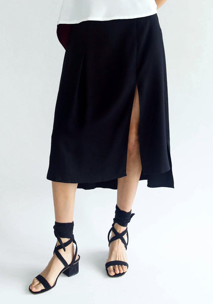 BLACK BAMBOO HI-LO SLIT SKIRT - SALIENT LABEL