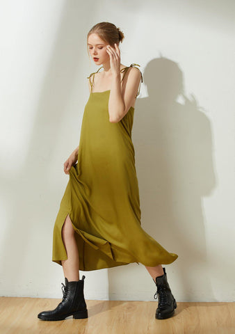 Bhumi Rayon Midi Dress - Olive - SALIENT LABEL