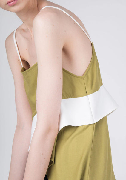 Ellie Asymmetric Cross Panel Cami Top in Moss Green
