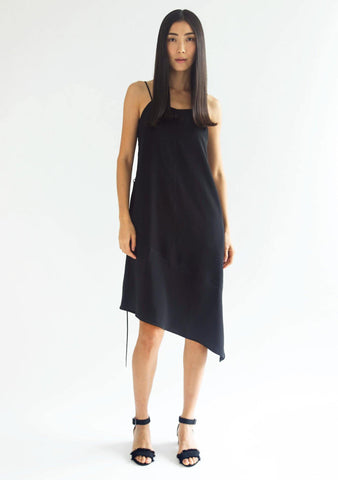 CHASIN ASYMMETRIC SLIP CAMI DRESS - BLACK