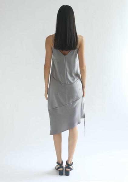 CHASIN ASYMMETRIC SLIP CAMI DRESS - PEWTER - SALIENT LABEL