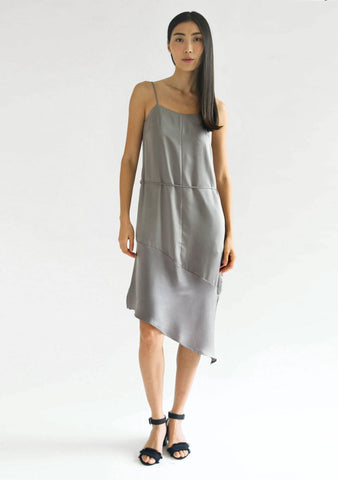 CHASIN ASYMMETRIC SLIP CAMI DRESS - PEWTER