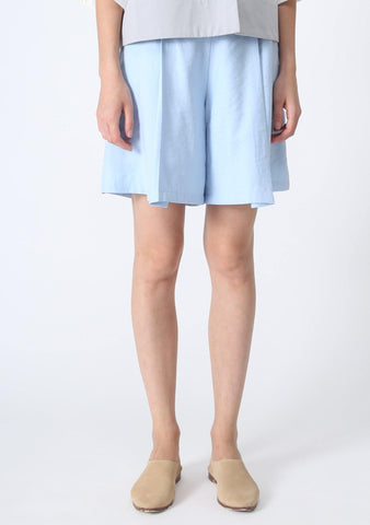 CASTRO CULOTTE SHORTS WITH PLEATS - BLUE - SALIENT LABEL
