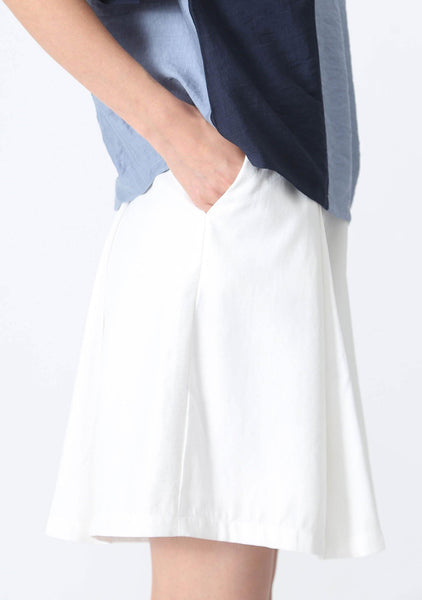 CASTRO CULOTTE SHORTS WITH PLEATS - WHITE - SALIENT LABEL