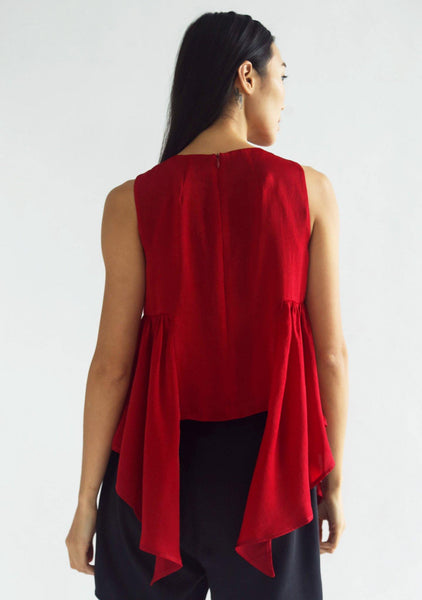 HUDSON SIDE FLARE TOP - SCARLET - SALIENT LABEL