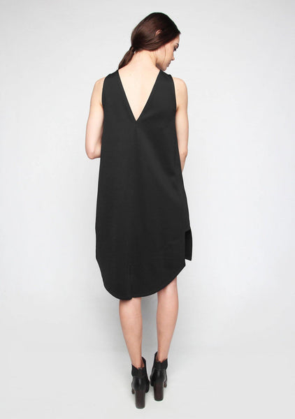 Hedi Asymmetrical Hem Dress in Black