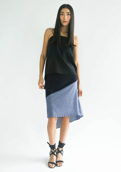 RAVELLO BACK DRAPED BUTTON DETAIL SKIRT IN NAVY CLOUD - SALIENT LABEL