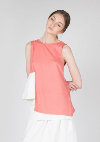 V-back Rayon Top in Coral