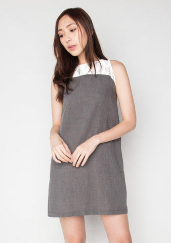 SLEEVELESS DUCHESS SATIN PANEL COTTON DRESS 3 LCC