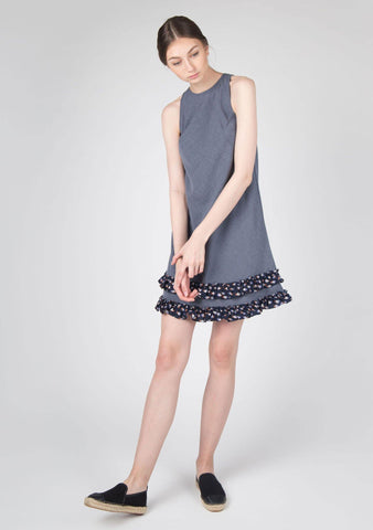 DARVINA COTTON BLUE DRESS