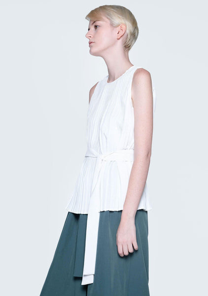 DELAINA PLEATED TOP - GLACIER WHITE