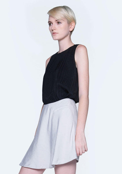 DELAINA PLEATED TOP - OBSIDIAN - SALIENT LABEL