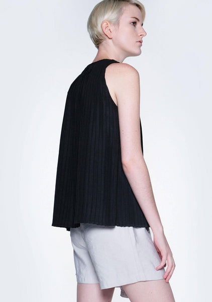 DELAINA PLEATED TOP - OBSIDIAN