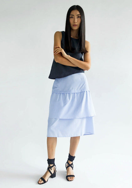 DENZEL TIERED SKIRT - STRIPE - SALIENT LABEL