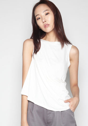 Elberte Drape Jersey Top in White