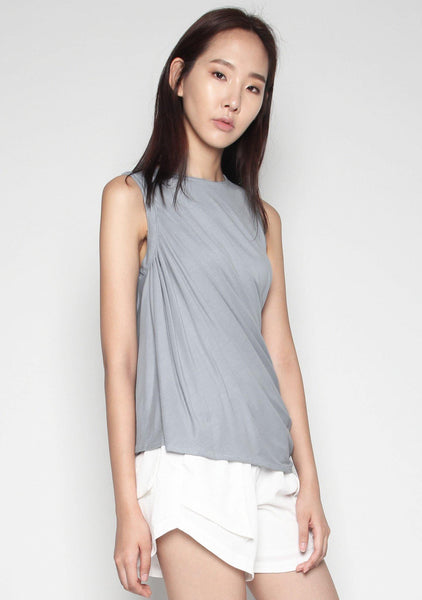 Elberte Drape Jersey Top in Grey