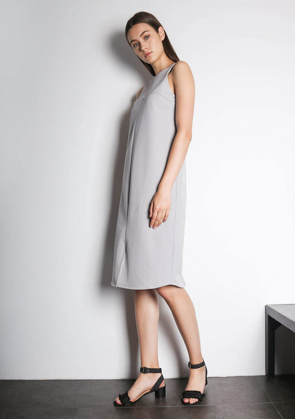 EDEN DRESS - VAPOUROUS GREY - SALIENT LABEL