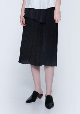 ELKIN PLEATED COLOURBLOCK SKIRT - ONYX - SALIENT LABEL