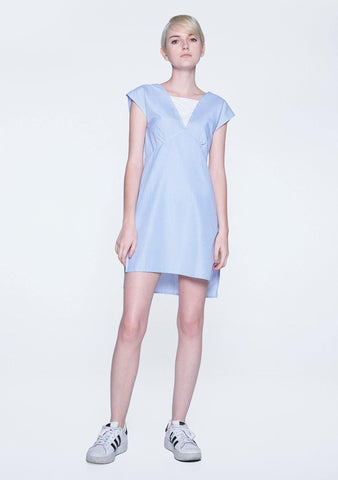 Elysian Contrast Panel Stripe Dress With Hi-lo hemline - SALIENT LABEL