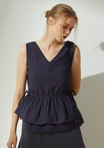 Farrow Linen Peplum Top - Navy - SALIENT LABEL