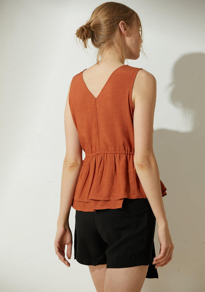 Farrow Linen Peplum Top - Burnt Orange