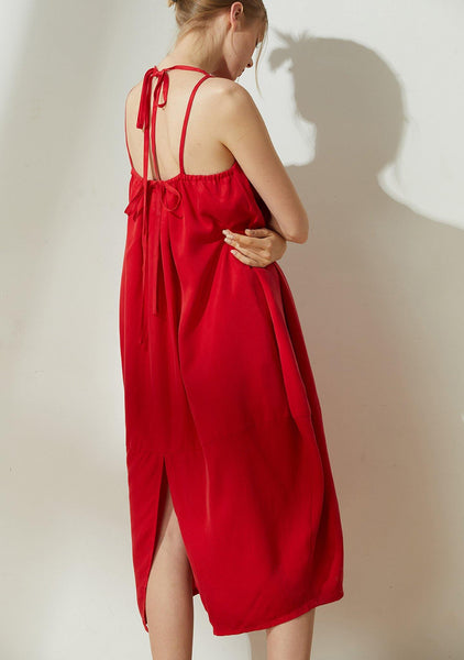 Hekate V-neck Cupro Cocoon Dress - Bright Red