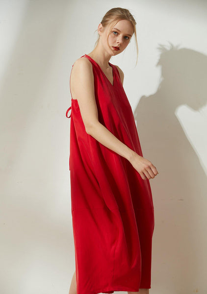 Hekate V-neck Cupro Cocoon Dress - Bright Red - SALIENT LABEL