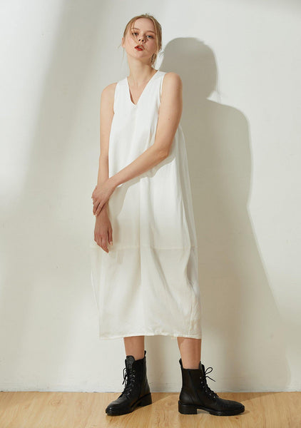 Hekate V-neck Cupro Cocoon Dress - Ivory