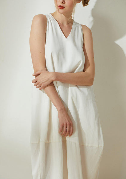 Hekate V-neck Cupro Cocoon Dress - Ivory - SALIENT LABEL