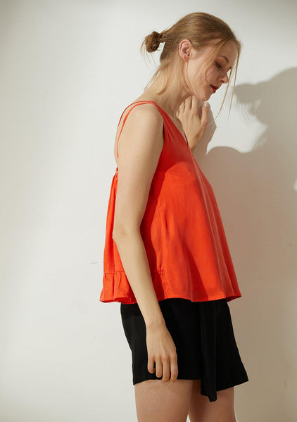 Hekate Cupro Tie-back Top in Tangerine Tango - SALIENT LABEL