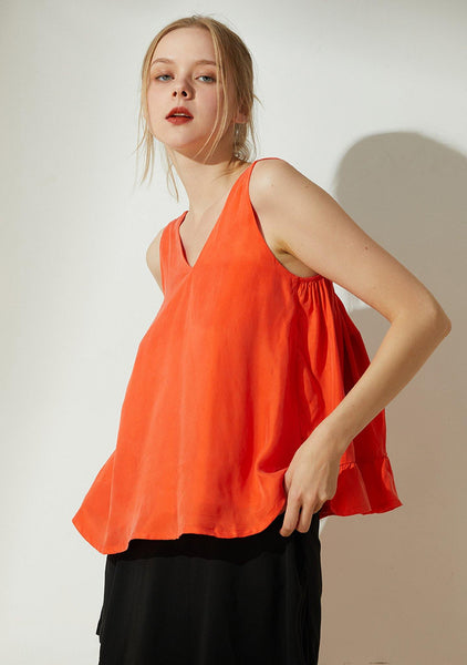 Hekate Cupro Tie-back Top in Tangerine Tango