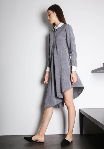 HENRIETTA ASYMMETRIC DRESS - WHITE/GREY - SALIENT LABEL