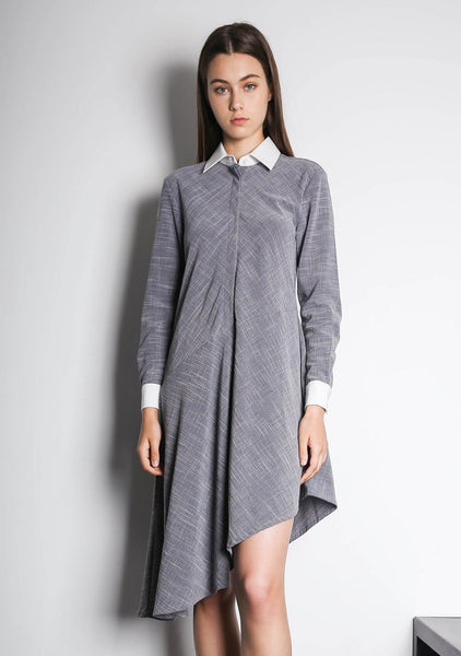 HENRIETTA ASYMMETRIC DRESS - MULTI (WHITE/GREY) - SALIENT LABEL