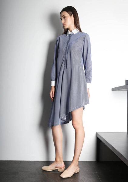 HENRIETTA ASYMMETRIC DRESS - STRIPE - SALIENT LABEL