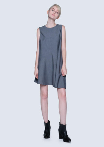 Carson Asymmetric Sleeveless Dress - Shadow