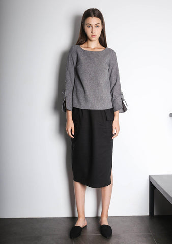 IKO LONG SLEEVED BLOUSE - GREY / BLACK - SALIENT LABEL