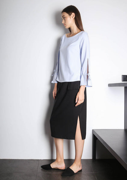 IKO LONG SLEEVED BLOUSE - POWDER BLUE - SALIENT LABEL