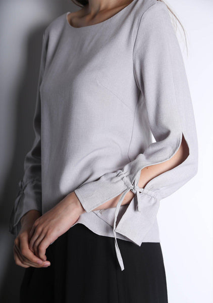 IKO LONG SLEEVED BLOUSE - SILVER CITY - SALIENT LABEL