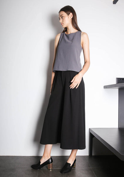 ISHA ASYMMETRIC BACK TOP - DARK GULL GREY - SALIENT LABEL