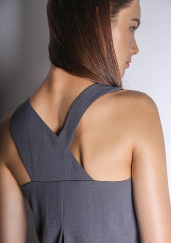ISHA ASYMMETRIC BACK TOP - DARK GULL GREY