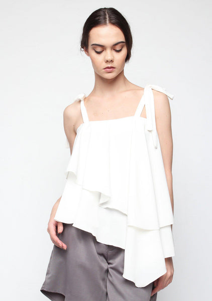 Izar Asymmetrical Layered Top in White - SALIENT LABEL