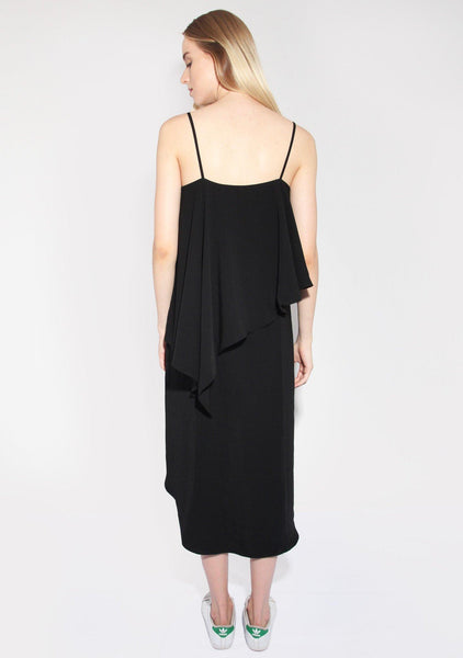 Izar Dress Silk Touch Layered Dress in Black - SALIENT LABEL